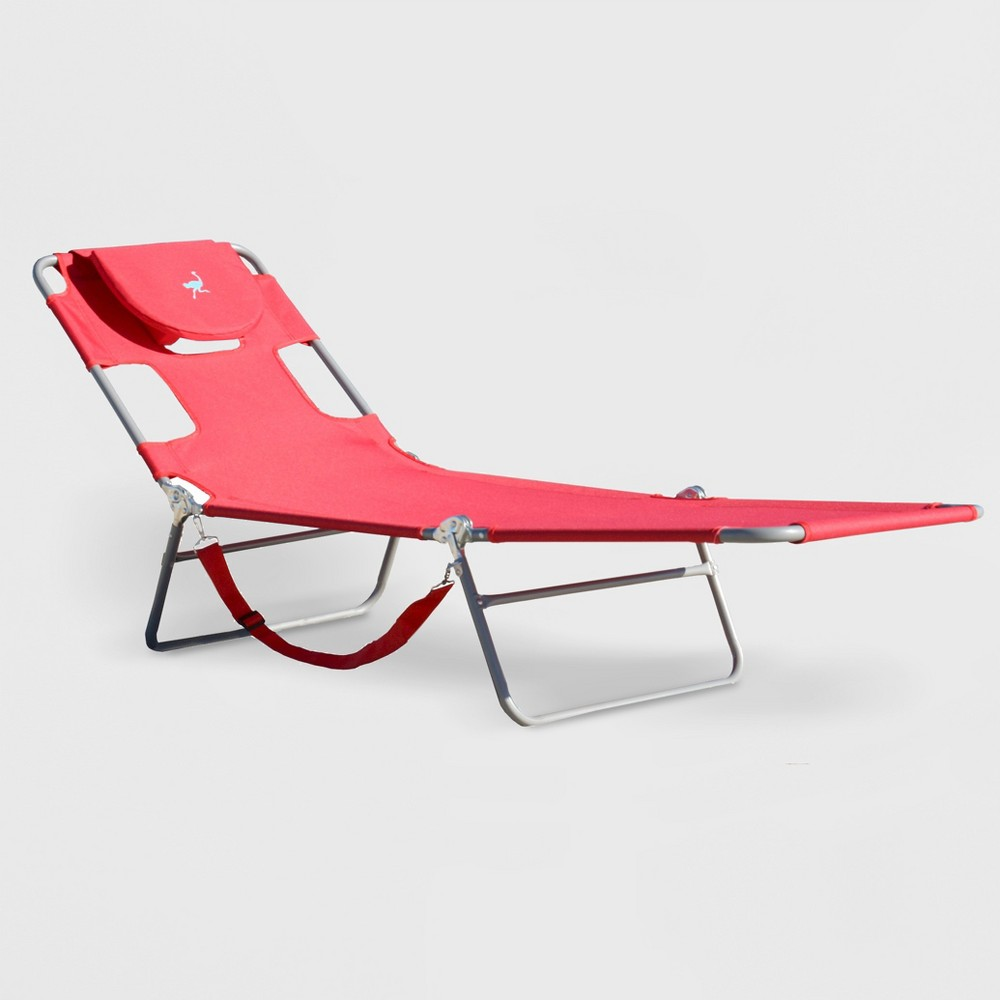 Image of Ostrich Face Down Beach Chaise Lounger Red - Deltess