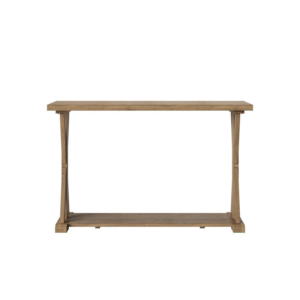 Litchfield Farmhouse Wood Console Table with Shelf Wheat - Threshold
