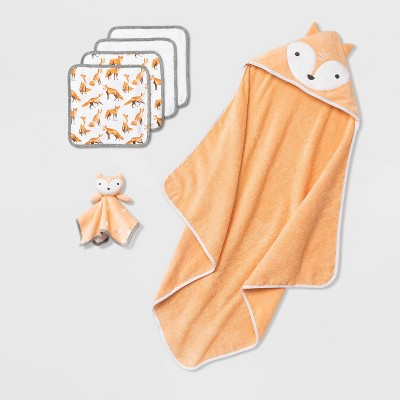 Baby Fox Bath Towel And Washcloth Set - Cloud Island™ Brown