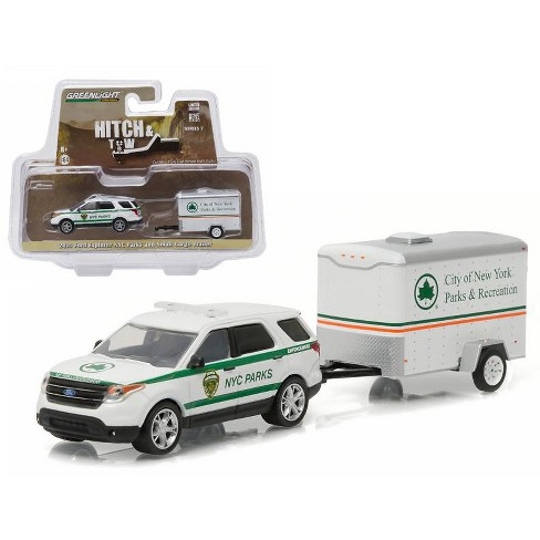 2015 Ford Explorer New York City Dept Of Parks And Recreation Small Cargo Trailer Hitch Tow Series 7 1 64 Greenlight