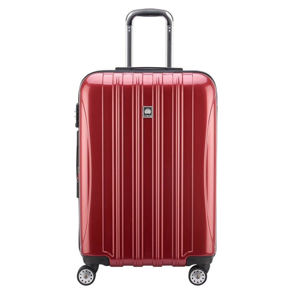 "Image of ""DELSEY Paris Aero 21"""" Expandable Carry On Spinner Suitcase - Red"""