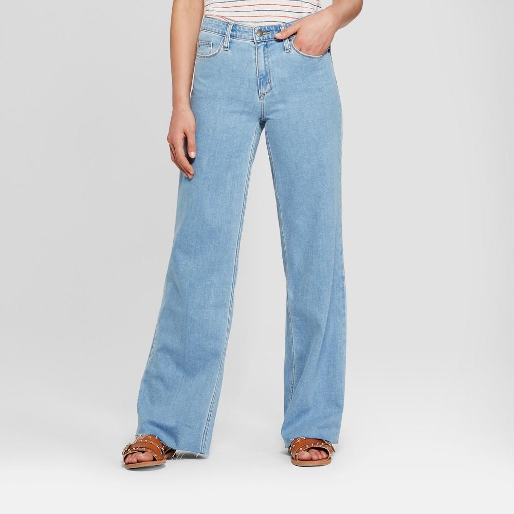 Women's High-Rise Wide Leg Jeans - Universal Thread Light Wash 2 Short, Blue