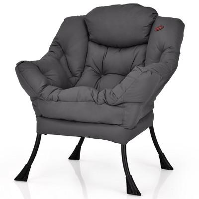 Costway Modern Polyester Fabric Lazy Chair Single Sofa Chair w/ Side Pocket Navy\Beige\Grey