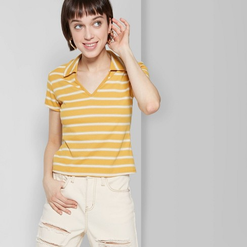 686df5491 Women s Striped Short Sleeve V-Neck Cropped Polo Shirt - Wild Fable™ Gold