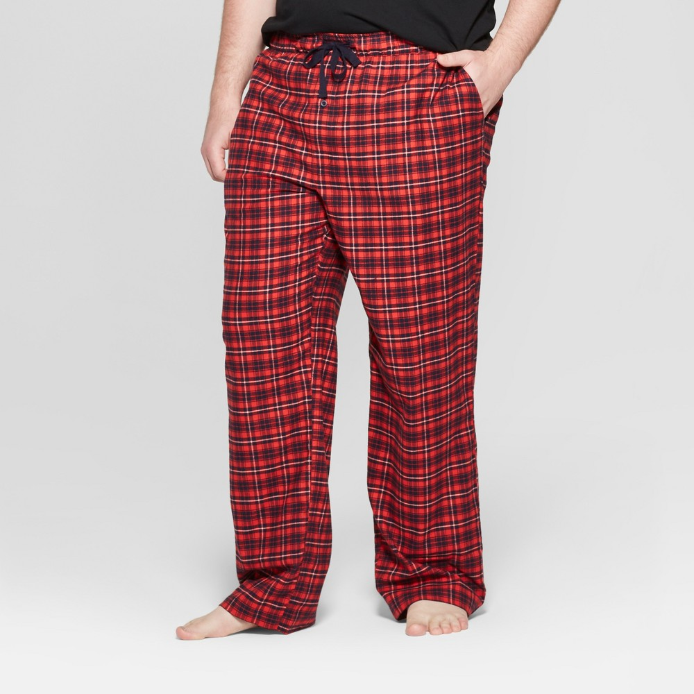 Men's Tall Plaid Flannel Pajama Pants - Goodfellow & Co Orange Xlt, Red