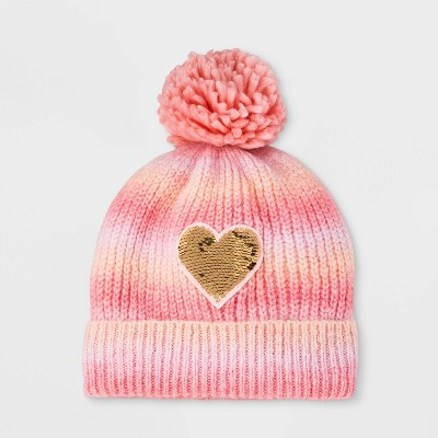 Girls' Ombre Heart Beanie - Cat & Jack™ Pink One Size