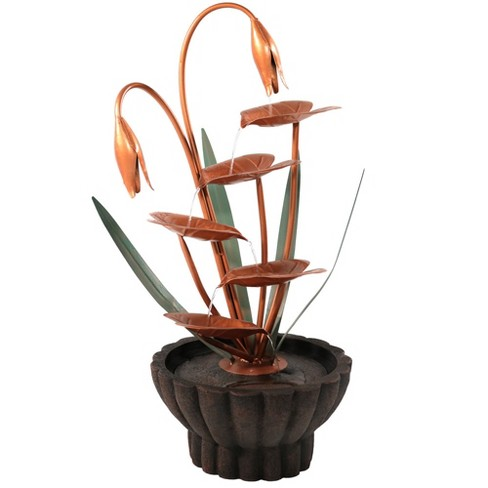 """34""""H Copper Flower Petals with Five Tier Leaves Outdoor Water Fountain - Sunnydaze Decor - image 1 of 4"""