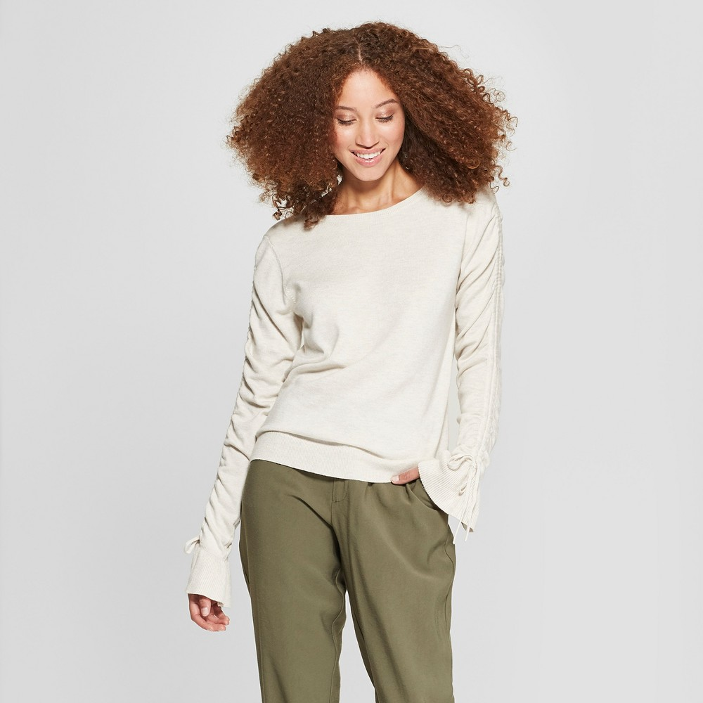 Women's Tie Sleeve Pullover Sweater - A New Day Cream (Ivory) Xxl