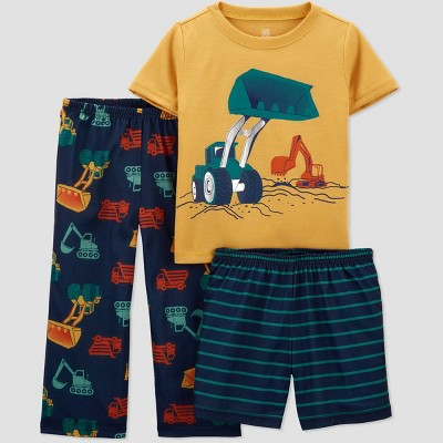 Toddler Boys' 3pc Construction Pajama Set - Just One You® made by carter's Gold/Blue/Navy