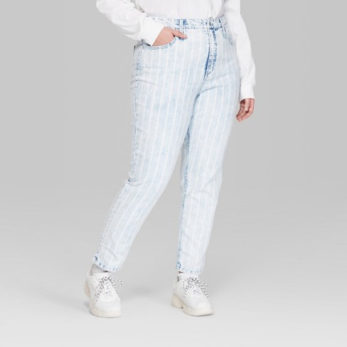 5466c8ae7ac7 Women s Plus Size Striped High-Rise Bleached Railroad Mom Jeans - Wild Fable™  Blue   Target