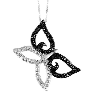Women's Sterling Silver Accent Round-Cut Black and White Diamond Prong Set Butterfly Pendant - White