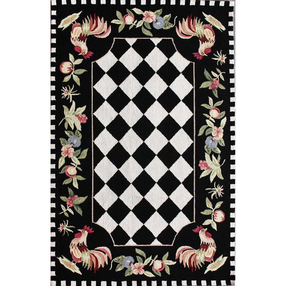 6 39 Round Angla Rooster Kitchen Area Rug Black Nuloom