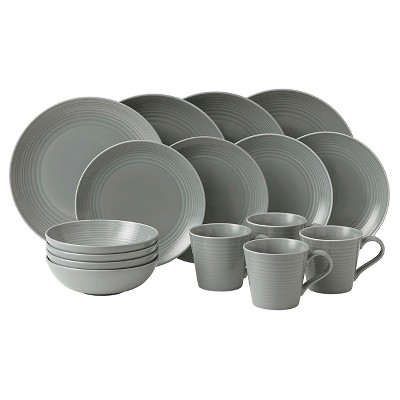 Gordon Ramsay by Royal Doulton® Maze Stoneware 16pc Dinnerware Set Dark Gray