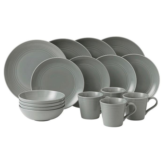 Gordon Ramsay by Royal Doulton® Maze Stoneware 16pc Dinnerware Set Dark Gray - image 1 of 1