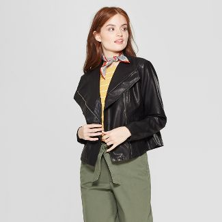 Women's Asymmetrical Zip Moto Jacket - A New Day™ Black XXL
