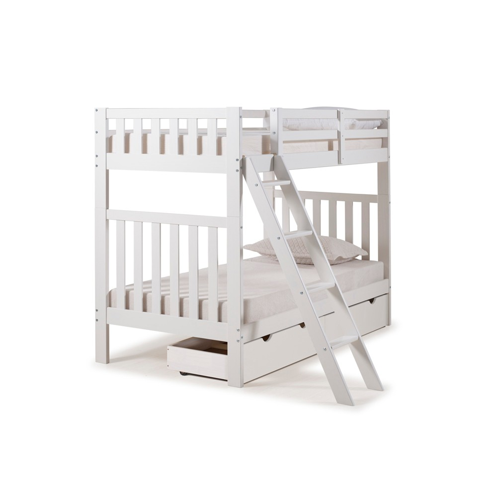 Twin Over Twin Aurora Over Bunk Bed With Storage Drawers White - Alaterre Furniture