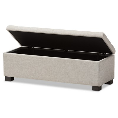Roanoke Modern And Contemporary Fabric Upholstered Grid   Tufting Storage  Ottoman Bench   Baxton Studio : Target