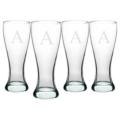 Cathy's Concepts 20oz Personalized Pilsner Glass Set - A - Set of 4