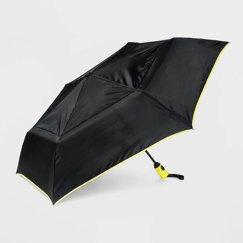 Image of Cirra by ShedRain Women's Air Vent Auto Open Close Compact Umbrella - Black/Neon Green, Adult Unisex, Size: Small