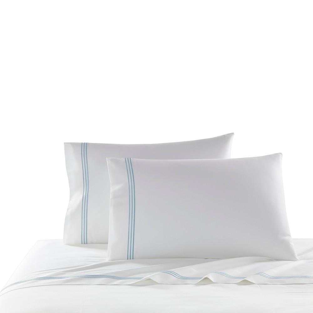 Image of Blue Stripe Border Strada Pillow Sham (King) 2pc - Kassatex