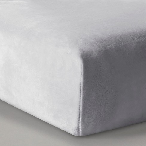 Plush Fitted Crib Sheet Solid - Cloud Island™ Gray - image 1 of 2