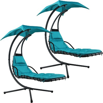 Sunnydaze Outdoor Hanging Chaise Floating Lounge Chair with Canopy Umbrella and Stand, Teal, 2pk