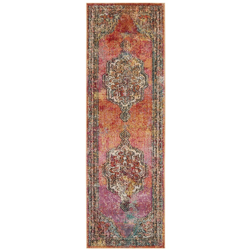 Loomed Medallion Runner Rug Orange