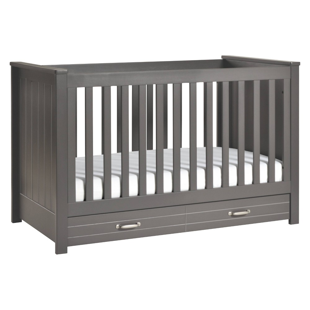 Image of DaVinci Asher 3-in-1 Convertible Crib with Toddler Bed Conversion Kit - Slate, Grey