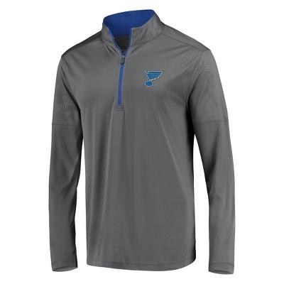 NHL St. Louis Blues Men's Defender Embossed 1/4 Zip Sweatshirt - Gray