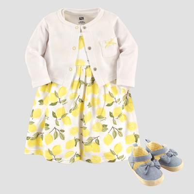 Hudson Baby Girls' Cardigan, Dress & Shoe Lemon Set - White 6-9M