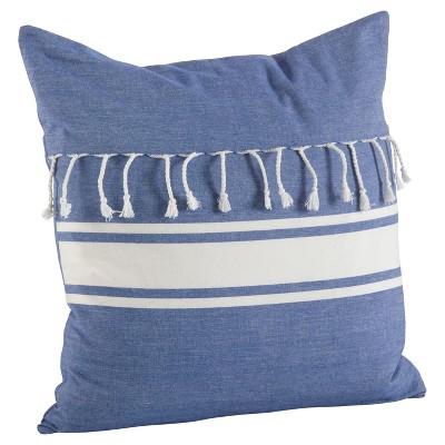 Blue Stripe Print Tassel Fringe Throw Pillow (20 )- Saro Lifestyle®