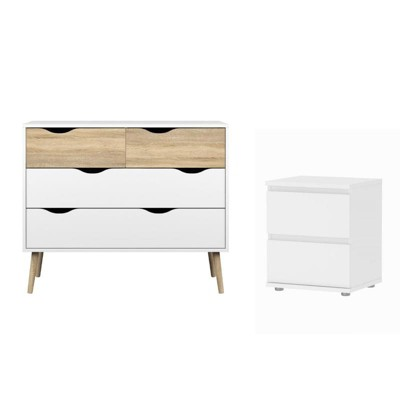 Foil Bright 2 Piece 4 Drawer Chest And 2 Drawer Nightstand Set In White Tvilum by Tvilum