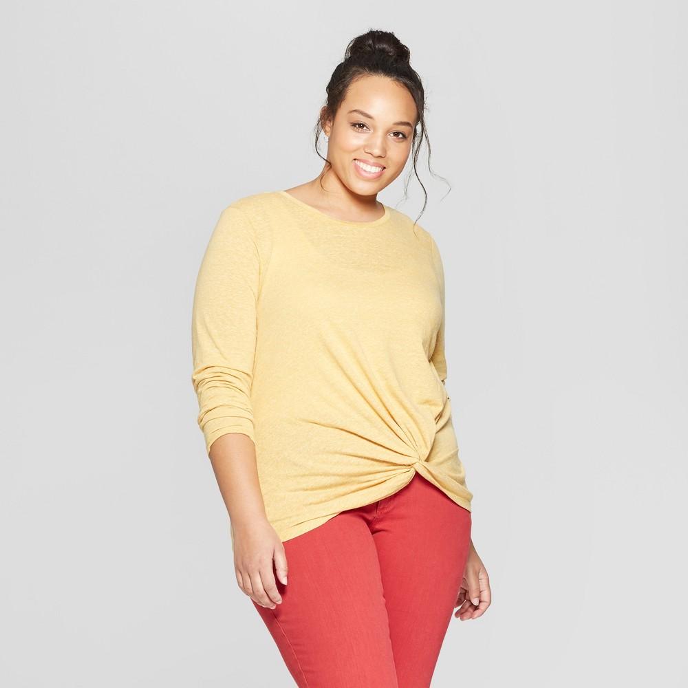 Women's Plus Size Twist Front Long Sleeve T-Shirt - Universal Thread Gold X