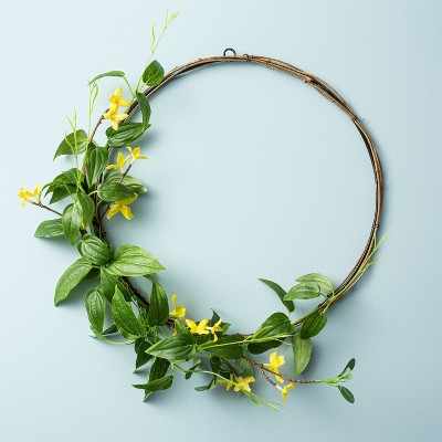 "13.5"" Faux Forsythia Flower Wreath - Hearth & Hand™ with Magnolia"