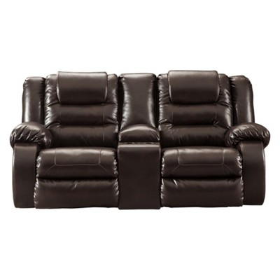 Vacherie Double Reclining Loveseat with Console Chocolate Brown - Signature Design by Ashley