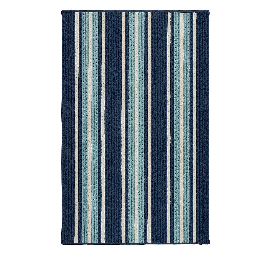 3'X5' Thin Stripe Braided Area Rug Blue - Colonial Mills