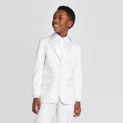 Oxford Boys' Long Sleeve Tuxedo Jacket White