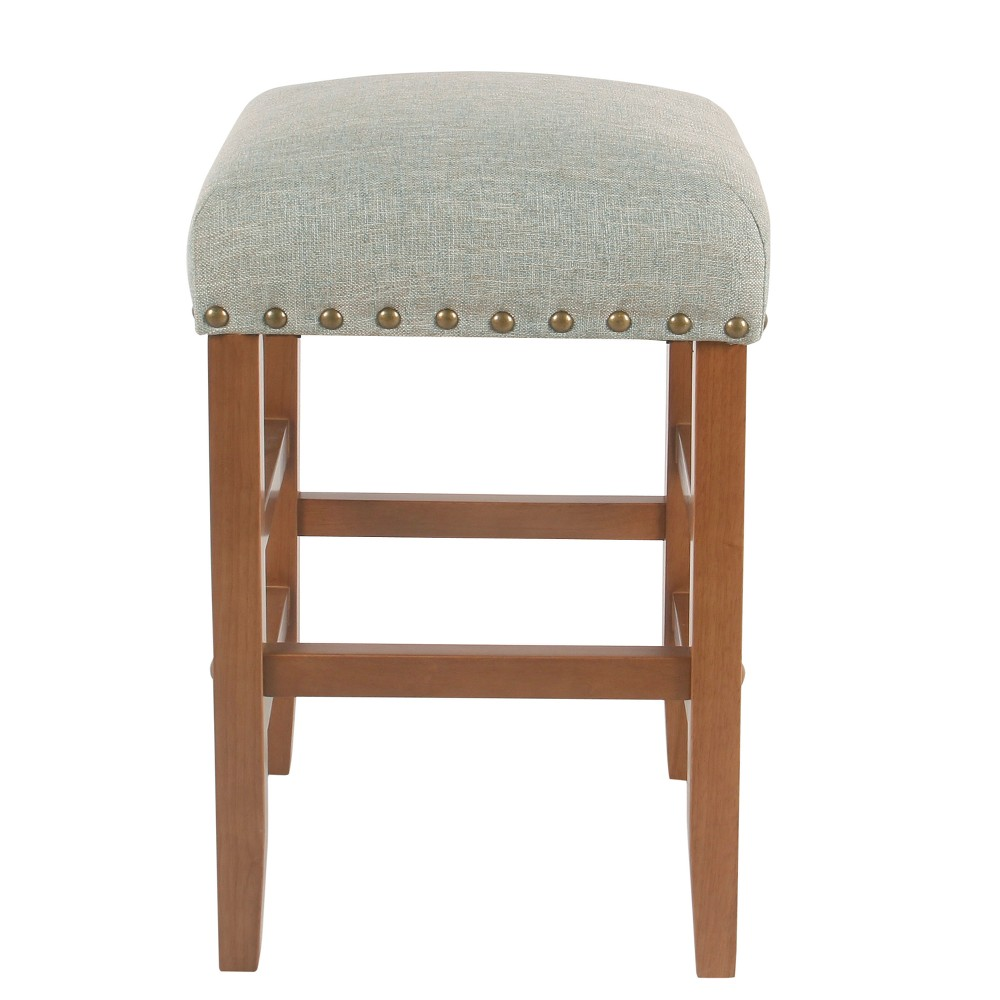 Peachy Backless 24 Counter Stool With Nailheads Vapor Teal Blue Homepop Pabps2019 Chair Design Images Pabps2019Com