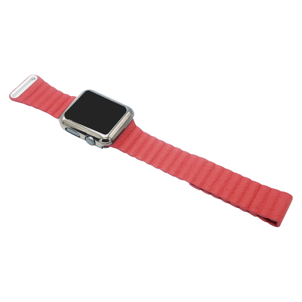 iPM Leather Bracelet With Magnetic Closure For Apple Watch 42mm - Red, Adult Unisex