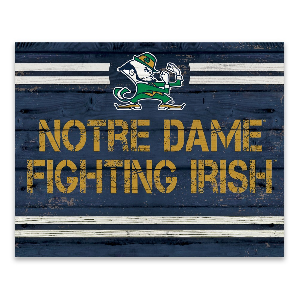 NCAA Notre Dame Fighting Irish Rustic Banner Large Logo Printed Canvas