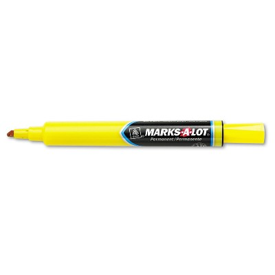 Avery Marks-A-Lot Large Desk-Style Permanent Marker Chisel Tip Yellow Dozen 08882