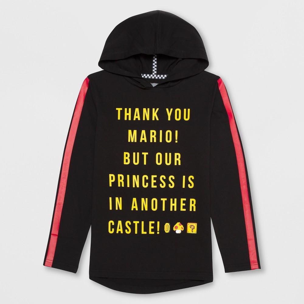 Boys' Super Mario Hooded Sweatshirt - Black XS