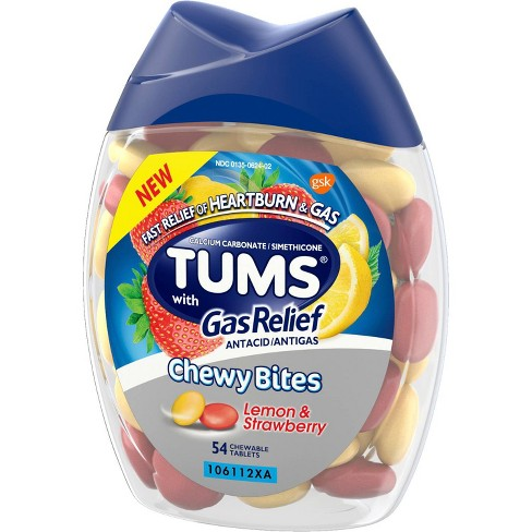Tums Chewy Bites with Gas Relief Extra Strength Chewable Antacid for  Heartburn - Lemon & Strawberry - 54ct