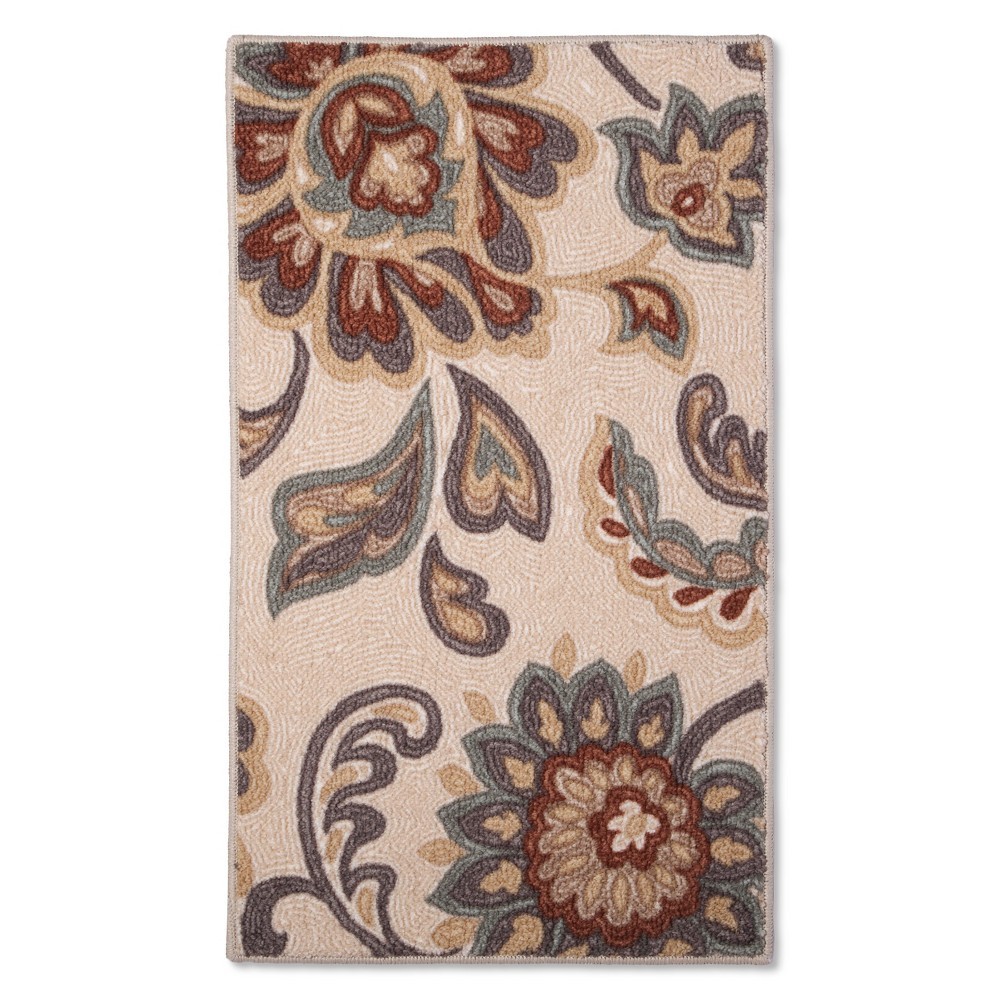 "Image of ""20""""x34"""" Paisley Floral Accent Rug Tan - Maples, Size: 1'8""""x2'10"""", Beige"""