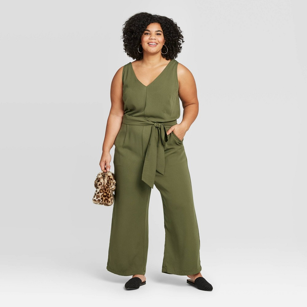 Women's Plus Size Sleeveless V-Neck Jumpsuit - A New Day Green 1X, Women's, Size: 1XL was $29.99 now $20.99 (30.0% off)