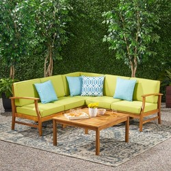 Perla 6pc Acacia Wood Patio Chat Set - Christopher Knight Home