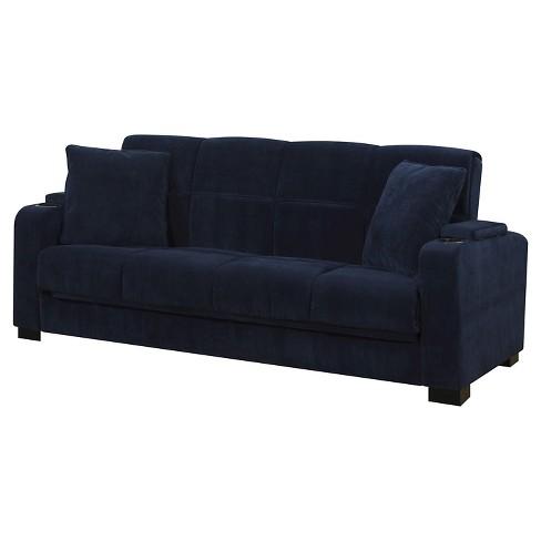 Susan Velvet Convert A Couch Storage Arm Futon Sofa Sleeper Handy