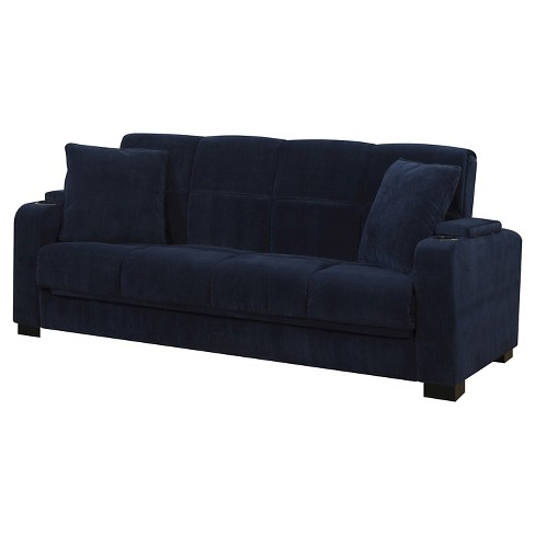 Susan Velvet Convert A Couch Storage Arm Futon Sofa Sleeper Handy Living