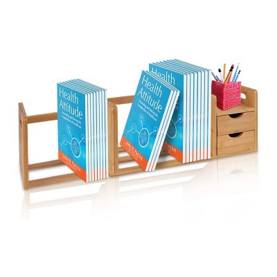 SereneLife Natural Bamboo Shelf Adjustable Bookshelf Desktop Organizer Unit with Storage Drawers for Books and Office Supplies