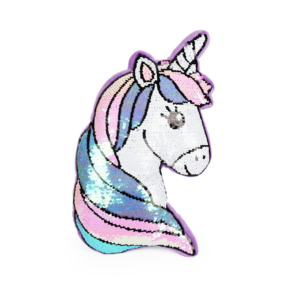 Image of Sequins Unicorn Throw Pillow Purple
